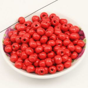 Beads, Wood, red, Round shape, Diameter 8mm, 15g, 100 Beads, (MZP159)